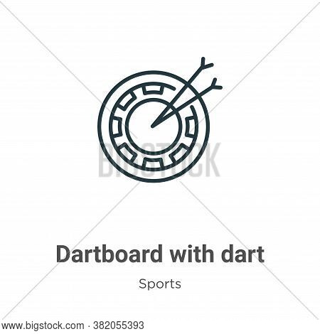 Dartboard With Dart Icon From Sports Collection Isolated On White Background.
