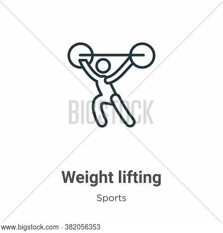 Weight lifting icon isolated on white background from sports collection. Weight lifting icon trendy