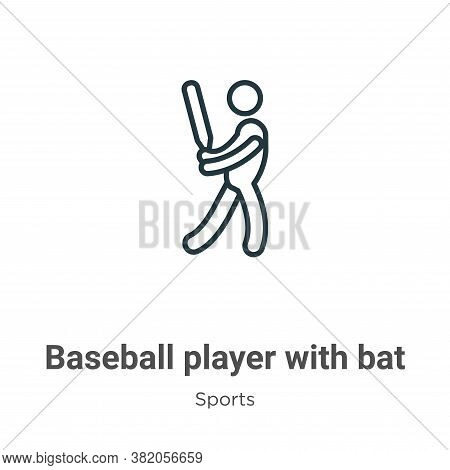 Baseball player with bat icon isolated on white background from sports collection. Baseball player w