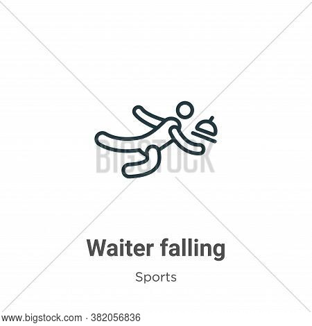 Waiter falling icon isolated on white background from sports collection. Waiter falling icon trendy