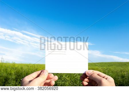 White Envelope In Hands On Background Green Field. Postal Delivery. Delivery Of Letter. Quick Postal