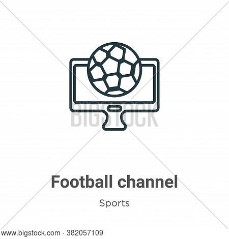 Football channel icon isolated on white background from sports collection. Football channel icon tre
