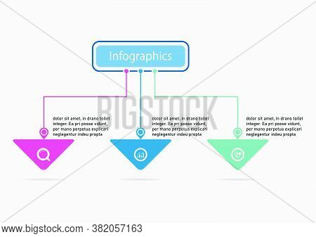 The Line Vector Design Template Flow Chart Graphic. Planning Timeline Three Steps Infographics Desig