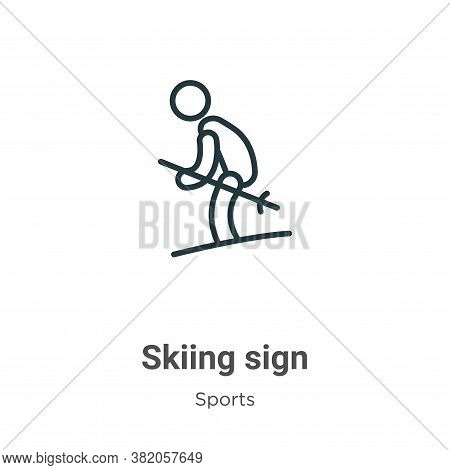 Skiing sign icon isolated on white background from sports collection. Skiing sign icon trendy and mo