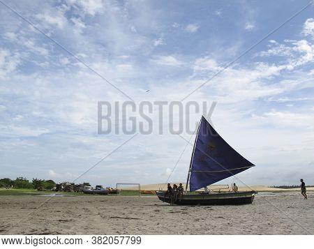 Jericoacoara, Ceara / Brazil - January, 16, 2020 - Decorative Vessel On The Tourist Beach Of Jericoa