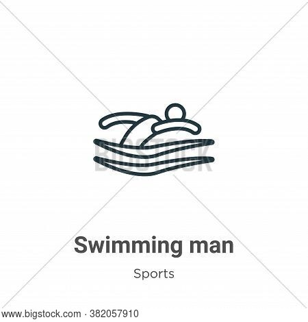 Swimming man icon isolated on white background from sports collection. Swimming man icon trendy and