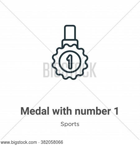 Medal with number 1 icon isolated on white background from sports collection. Medal with number 1 ic