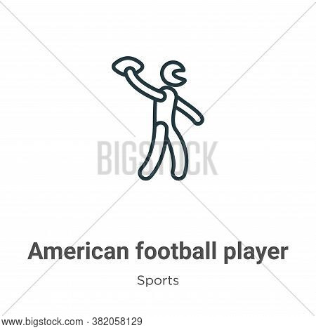 American football player playing throwing the ball in his hand icon isolated on white background fro