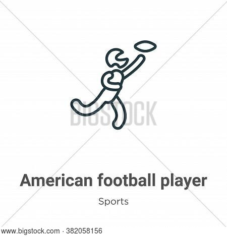 American football player running with the ball icon isolated on white background from  collection. A