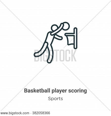 Basketball player scoring icon isolated on white background from sports collection. Basketball playe