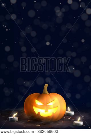 Happy Halloween Holiday Poster. Festive Banner With Spooky Pumpkins Burning Candles And Confetti On