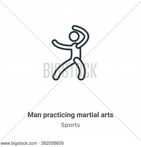 Man practicing martial arts icon isolated on white background from sports collection. Man practicing