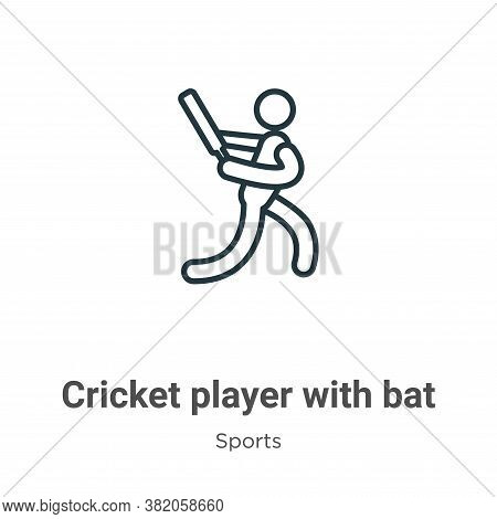 Cricket player with bat icon isolated on white background from sports collection. Cricket player wit