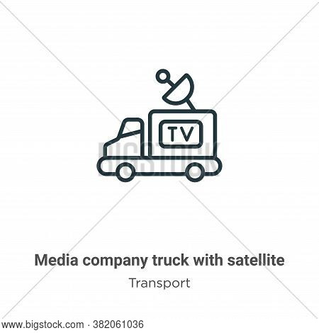 Media company truck with satellite icon isolated on white background from transport collection. Medi