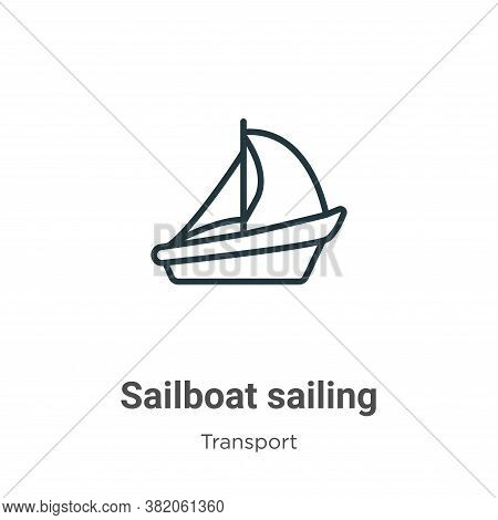 Sailboat sailing icon isolated on white background from transport collection. Sailboat sailing icon