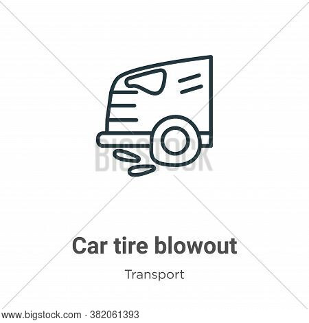 Car tire blowout icon isolated on white background from transport collection. Car tire blowout icon