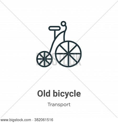 Old bicycle icon isolated on white background from transport collection. Old bicycle icon trendy and