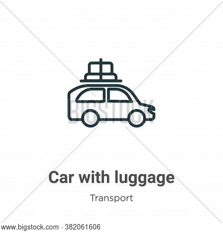 Car with luggage icon isolated on white background from transport collection. Car with luggage icon