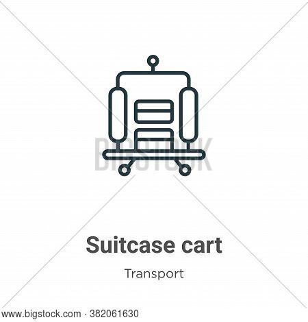 Suitcase cart icon isolated on white background from transport collection. Suitcase cart icon trendy