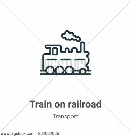 Train on railroad icon isolated on white background from transport collection. Train on railroad ico