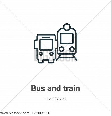 Bus and train icon isolated on white background from transport collection. Bus and train icon trendy