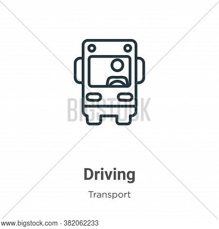 Driving icon isolated on white background from transport collection. Driving icon trendy and modern