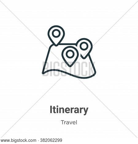 Itinerary icon isolated on white background from travel collection. Itinerary icon trendy and modern