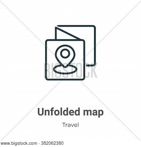 Unfolded map icon isolated on white background from travel collection. Unfolded map icon trendy and