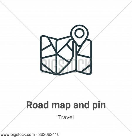 Road map and pin icon isolated on white background from travel collection. Road map and pin icon tre