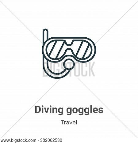 Diving goggles icon isolated on white background from travel collection. Diving goggles icon trendy