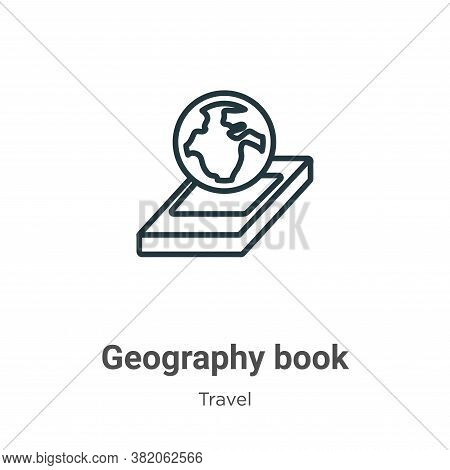 Geography book icon isolated on white background from travel collection. Geography book icon trendy