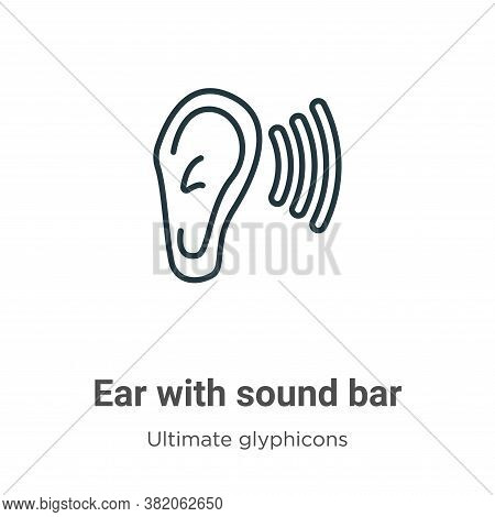 Ear with sound bar icon isolated on white background from ultimate glyphicons collection. Ear with s