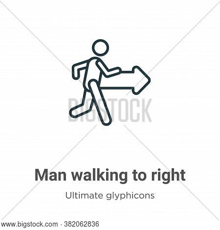 Man walking to right icon isolated on white background from ultimate glyphicons collection. Man walk