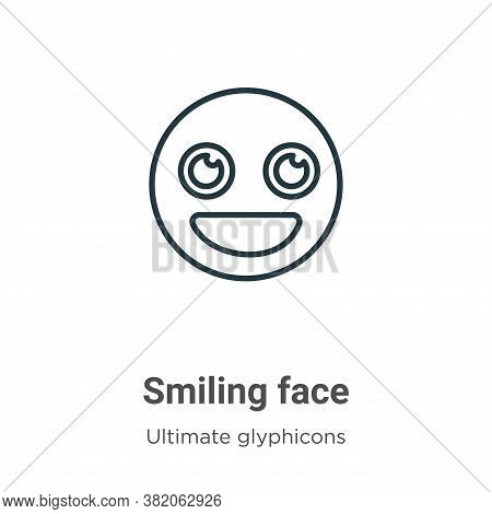 Smiling face icon isolated on white background from ultimate glyphicons collection. Smiling face ico