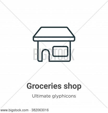 Groceries shop icon isolated on white background from ultimate glyphicons collection. Groceries shop