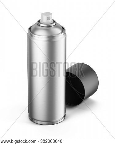 Blank aluminum can of spray paint isolated on white background - 3d rendering