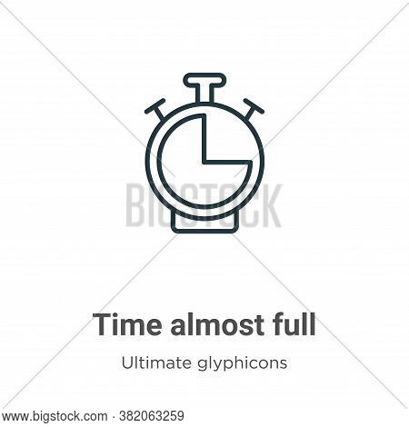 Time almost full icon isolated on white background from ultimate glyphicons collection. Time almost