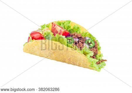One Taco Shell With Lettuce, Ground Beef Meat,  Mashed Avocado, Tomato, Red Onion And Jalapeno Peppe