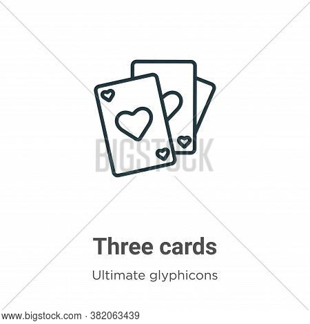 Three cards icon isolated on white background from ultimate glyphicons collection. Three cards icon