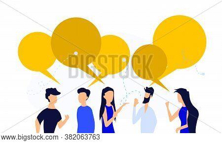 People Chat Talk Dialogue Vector Communicate Illustration Teamwork. Network Speech Bubble Community