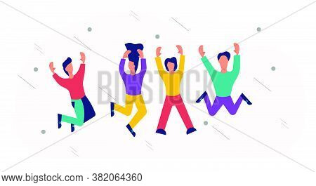 Happy People Jumping Vector Illustration Fun Background. Young People Woman And Man Jump Celebration