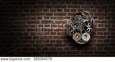 Gears and cogs macro . Mixed media