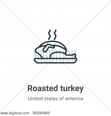 Roasted turkey icon isolated on white background from united states of america collection. Roasted t
