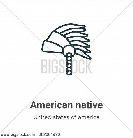American native icon isolated on white background from united states of america collection. American
