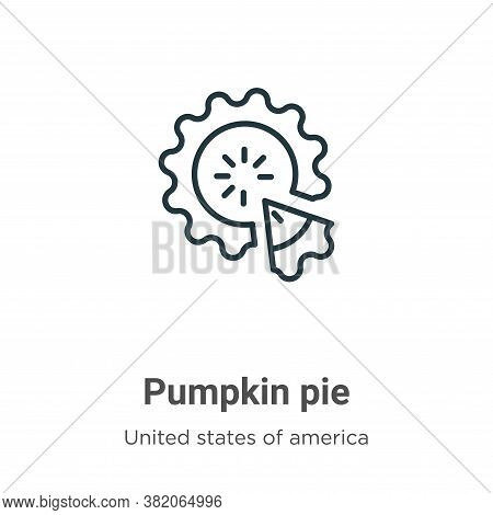 Pumpkin pie icon isolated on white background from united states of america collection. Pumpkin pie