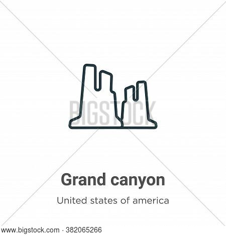 Grand canyon icon isolated on white background from united states collection. Grand canyon icon tren