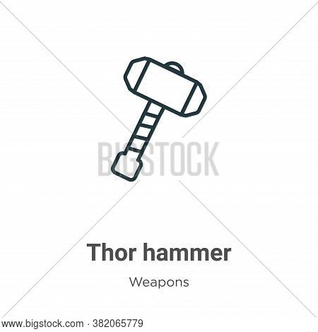 Thor hammer icon isolated on white background from weapons collection. Thor hammer icon trendy and m