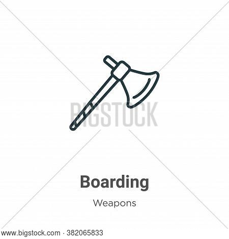 Boarding icon isolated on white background from weapons collection. Boarding icon trendy and modern