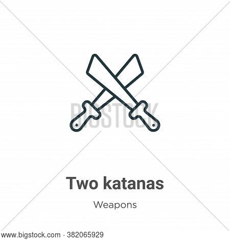 Two katanas icon isolated on white background from weapons collection. Two katanas icon trendy and m