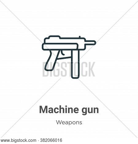 Machine gun icon isolated on white background from weapons collection. Machine gun icon trendy and m